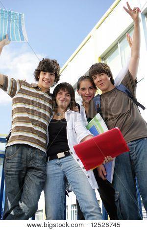 Happy students in school yard