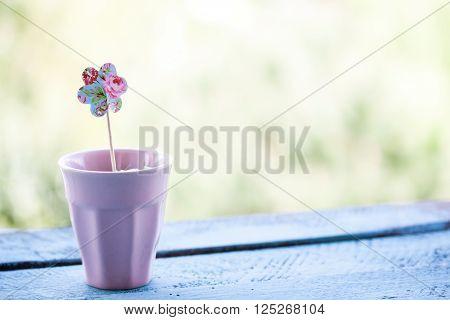 paper flower shape in a pink pot