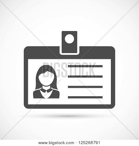 Identification card for woman icon. Identification card illustration