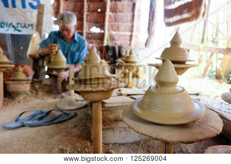 Chiang Mai Thailand - March 31, 2016: Men Are Doing Earthenware With Traditional Methods By Hand Rot