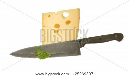 The cut-off cheese piece on a white background
