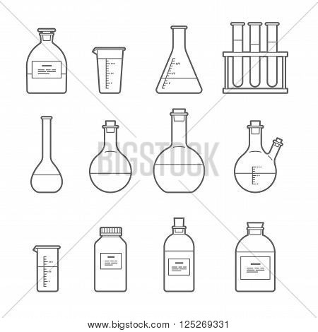Set in Line style. chemical flask. Erlenmeyer flask, distilling flask, volumetric flask, test tube. Vector illustration.
