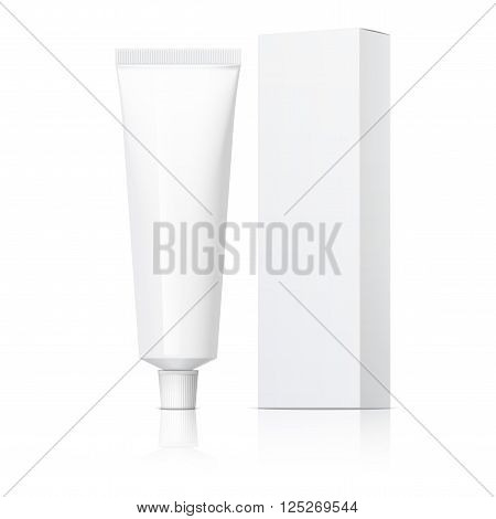 Cool Realistic white tube and packaging. For cosmetics, ointments, cream, tooth paste, glue Vector. Separate elements 3d