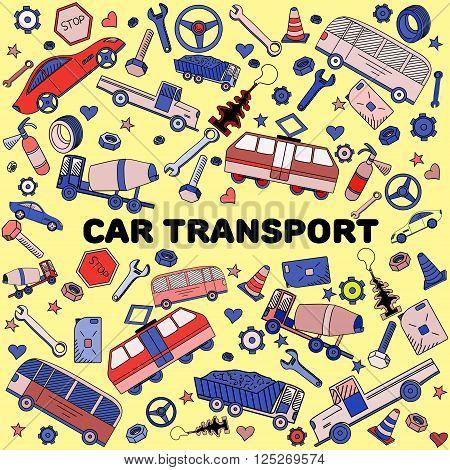 Car transport line art design vector illustration. Separate objects. Hand drawn doodle design elements.