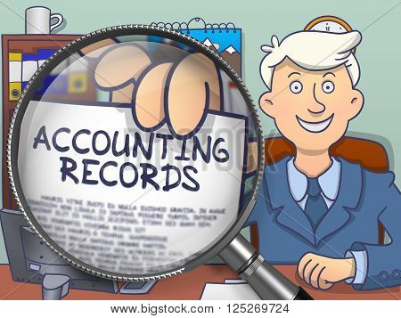 Accounting Records. Businessman in Office Workplace Shows through Magnifier Text on Paper. Multicolor Doodle Style Illustration.