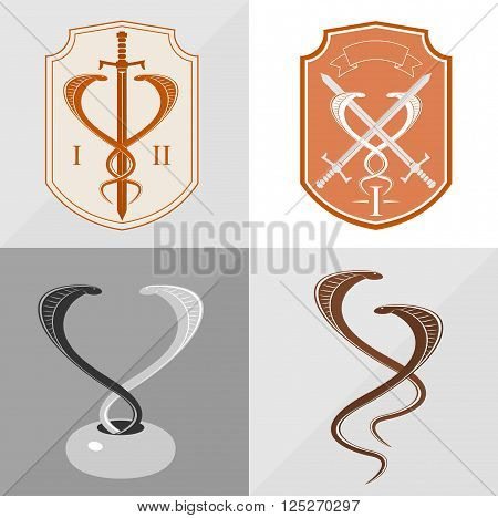 Two stylized cobra as a sign for the logo in vector graphics