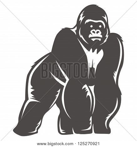 gorilla standing design, suitable for the icon, print shirts, app icons and more