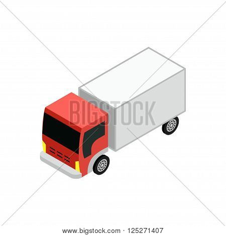 Isometric vector illustration of a truck with a red cab for design infographics and websites.Isometric vector illustration of a truck with a red cab for design infographics and websites.