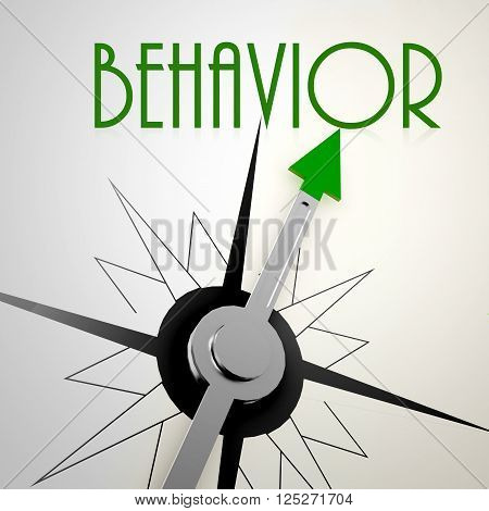 Behavior on green compass. Concept of healthy lifestyle, 3D rendering