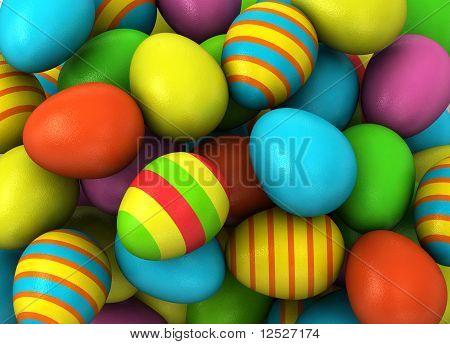 Oeufs de Pâques colorés 3D