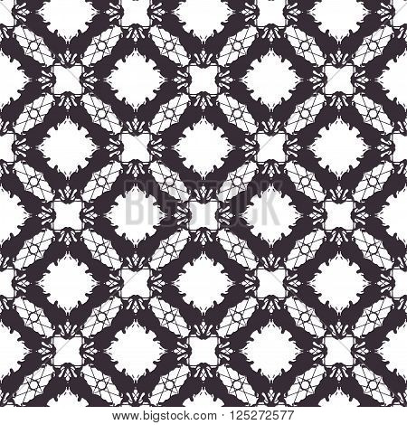 Lace vector seamless pattern, tiling. Endless texture for printing onto fabric and wrapping paper or scrap booking. Geometric pattern for wedding design.
