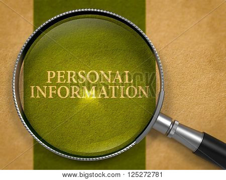 Personal Information Concept through Magnifier on Old Paper with Dark Green Vertical Line Background. 3D Render.
