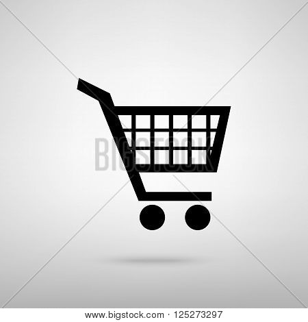 Shopping cart sign. Black with shadow on gray.