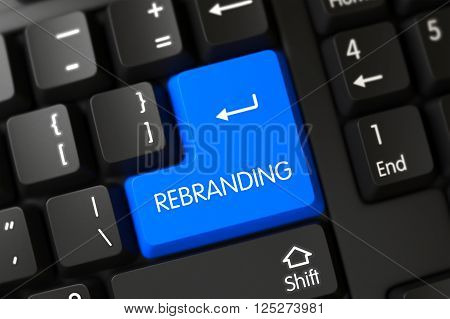 Rebranding on Black Keyboard Background. Rebranding Concept: Modernized Keyboard with Rebranding, Selected Focus on Blue Enter Key. Rebranding Close Up of Modernized Keyboard on a Modern Laptop. 3D.