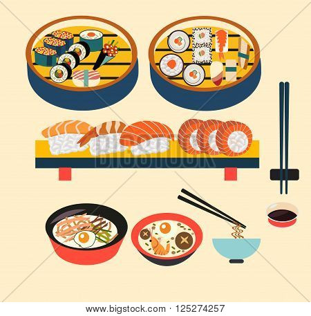 Vector food- Japanese food Japanese dishes Sushi set- Illustration
