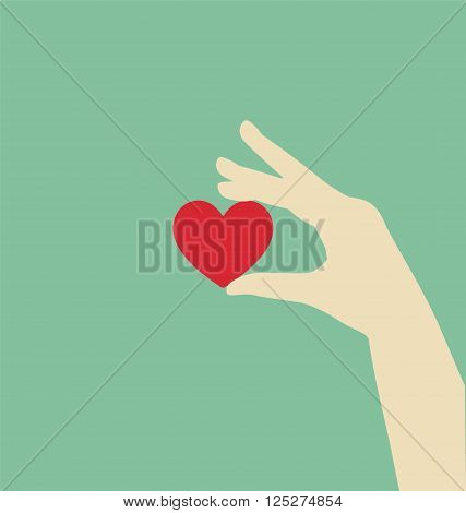 Flat Hand Holding Red Heart, Love Concept