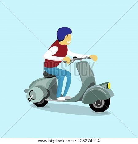Man Ride Electrical Motorbike Scooter Retro Electric Transport Flat Vector Illustration