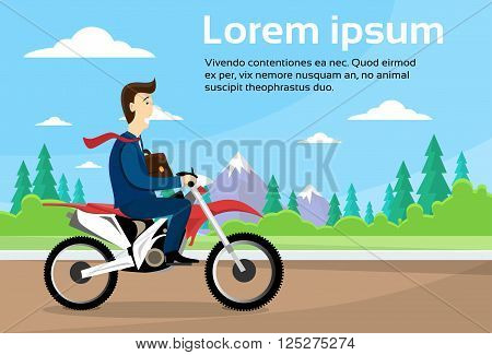 Business Man Ride Off Road Motor Bike, Sport Motocycle Over Nature Background Flat Vector Illustration