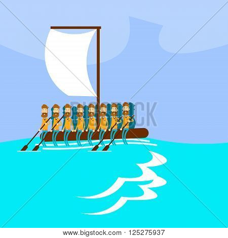 Migrant Crisis People Group Emigrant Hand Made Boat Sail In Sea Emigration Concept Flat Vector Illustration
