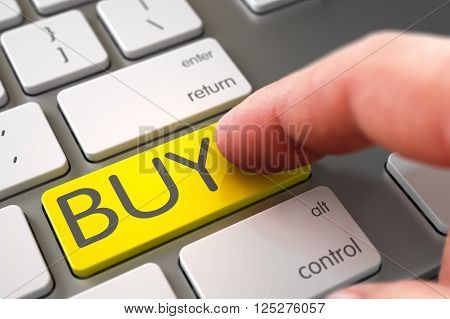 Modern Keyboard with Yellow Buy Button. Buy - Modernized Keyboard Keypad. Computer User Presses Yellow Buy Keypad. Close Up view of Male Hand Touching Buy Computer Button. 3D Illustration.