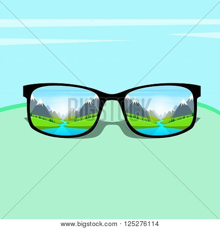 Eye Glasses With Mountain Water River Landscape Forest Green Park Blue Sky Vacation Rest Dream Concept Flat Vector Illustration