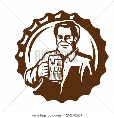 vector brown symbol of man with beer