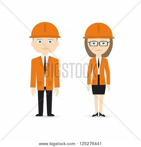 male and female constructor in orange suits isolated