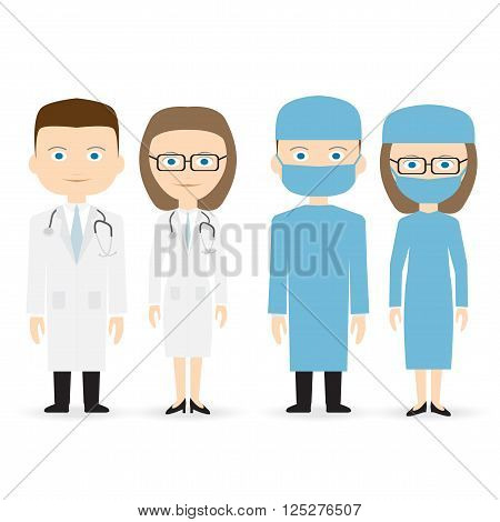 doctor and surgeon isolated vector on white background