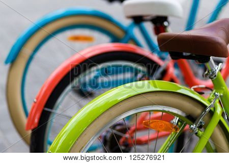 Row of the bright colored classic women's city bicycles parked outdors in the park, back wheel and saddles closeup