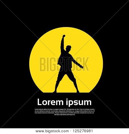 Traveler Icon Posing Hand Up Logo Hiker Trekker Empty Copy Space Black Yellow Background Vector Illustration