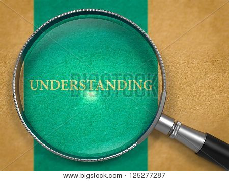 Understanding through Lens on Old Paper with Blue Vertical Line Background. 3D Render.
