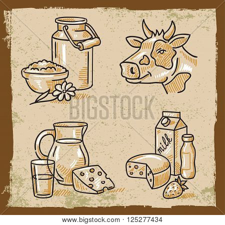 Hand drawn doodle vector illustration of milk products