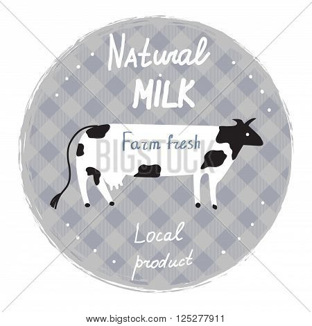 Milk label with cow and frame - template for organic farm vector illustration