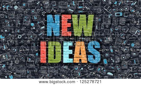 New Ideas Concept. Modern Line Style Illustration. Multicolor New Ideas Drawn on Dark Brick Wall. Doodle Icons. Doodle Design Style of New Ideas Concept. New Ideas on Dark Brick Wall. New Ideas.