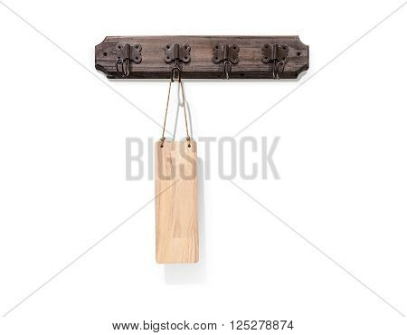 Wooden signboard tag with rope hanging isolated on white background