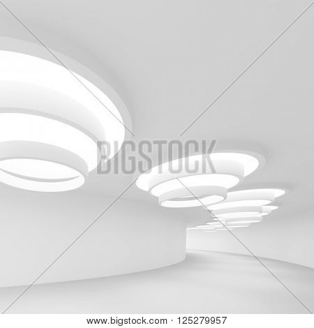 white Futuristic Tunnel. Abstract Architecture Background. 3d Rendering