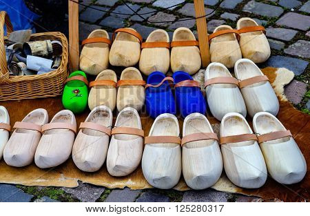 Dutch and german medieval traditional wooden shoes.