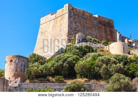Old stone citadel of Bonifacio, mountainous Mediterranean island Corsica, Corse-du-Sud, France