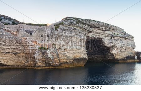 Bay Of Bonifacio, Rocks With Grotto. Corsica