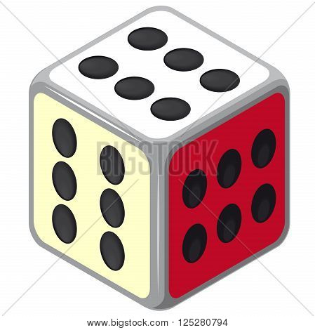 Playing isometric dice. Happy dice cube with all six. Color full cube on white background. Six sides game die. Only six dots. Happy situation. Casino icon. Flatten isolated master vector illustration.