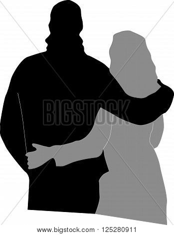 The man embraces the woman by the shoulders. Silhouette on white background