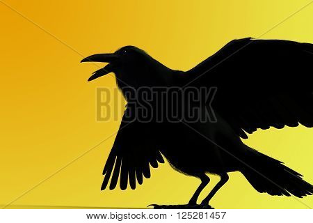 3D rendering of a black raven isolated on yellow background