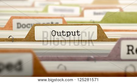 Output Concept on File Label in Multicolor Card Index. Closeup View. Selective Focus. 3D Render.