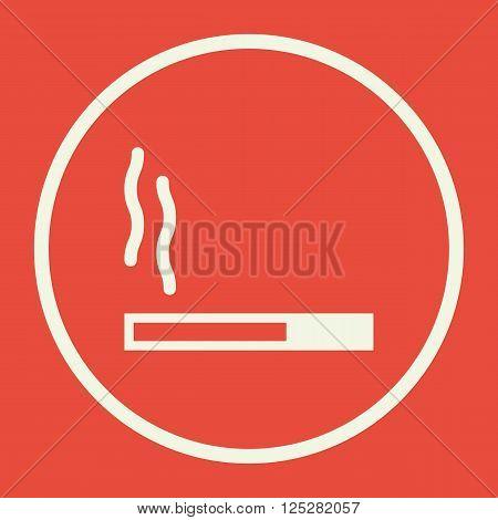 Cigarette Icon In Vector Format. Premium Quality Cigarette. Web Graphic Cigarette Sign On Red Backgr