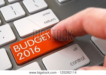 Man Finger Pushing Orange Budget 2016 Button on Modernized Keyboard. Hand of Young Man on Orange Budget 2016 Keypad. Finger Pushing Budget 2016 Button on Computer Keyboard. 3D Render.
