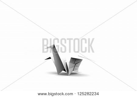 3d illustration of a origami crane isolated on white background