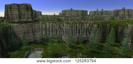 view from long plateau on other plateau. Ground covered of grass. Trees. Clear water. 3D rendering, 3D illustration
