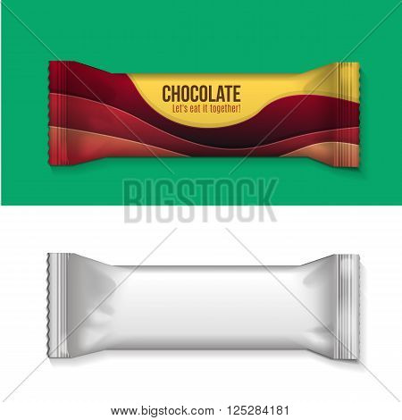 visual of white or clear plain flow wrap plastic foil packet, packaging or wrapper for biscuit, wafer, crackers, sweets, chocolate bar, candy bar, snacks etc
