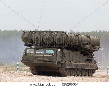 Moscow Region - June 19 2015: On the firing line extends anti-aircraft missile system S-300 Favorit on demonstrations on polegone Kubinka June 19 2015 Moscow Region Russia