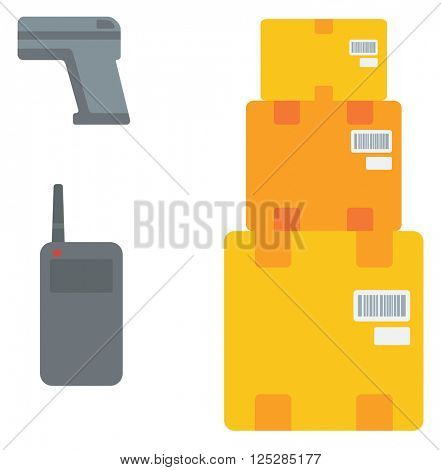 Cardboard boxes, barcode scanner and radio set.